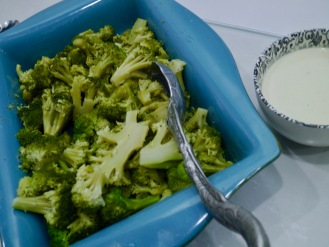 Steamed Broccoli with Mustard Sauce